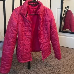 WORN ONCE!! pink puffer jacket